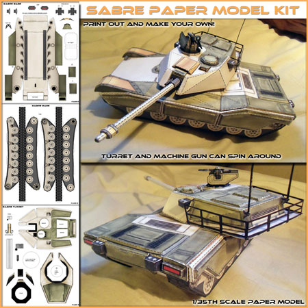 Sabre Main Battle Tank Papercraft