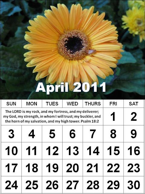 April 2011 Calendar. Christian April 2011 Calendar