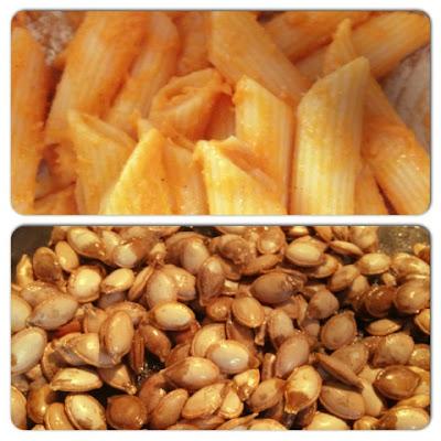 pumpkin pasta and roasted pumpkin seeds