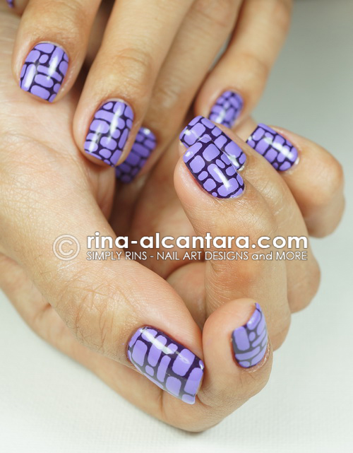 Purple Bricks Nail Art Design