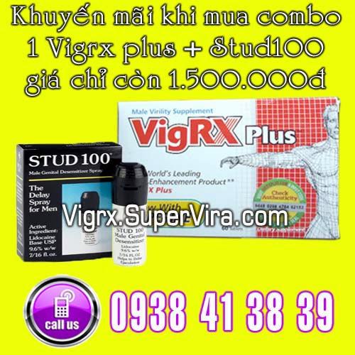 Vigrx Plus khuyến mãi đặc biệt Combo 1 Vigrx Plus + 1 Stud100 giá chỉ còn 1.500.000đ