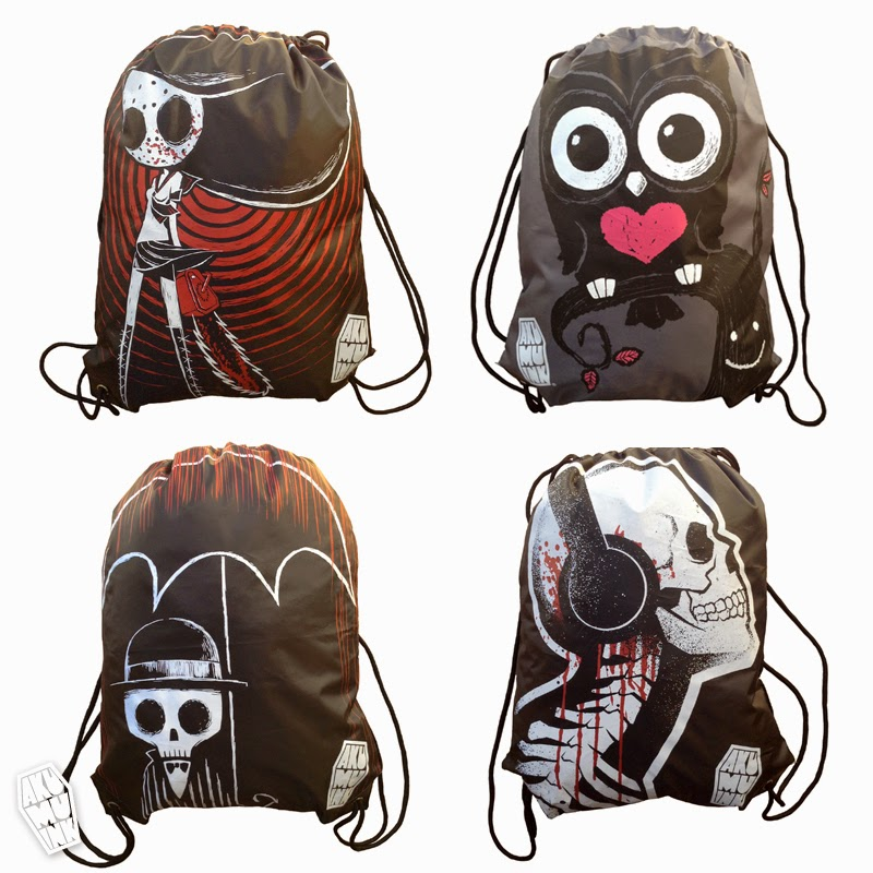 akumuink, akumu ink bag, alternative bag, punk bag, grunge bag, skeleton bag, tim burton bag, nightmare christmas bag, owl bag, tattoo bag, indie art apparel, goth bag, montreal la brand, kawaii goth, japanese goth bag