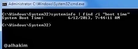 cek boot time via DOS
