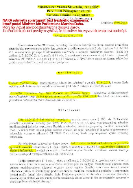 Trestné oznámenie, ktoré podal Ján Počiatek zostáva tajné, strana 1