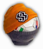 beanies on a soccer ball