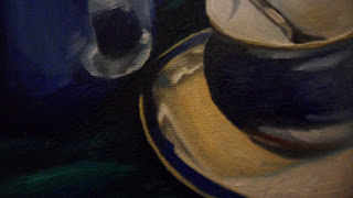 Daily painter.Painting a day.PAD Movement.Blue Denby Teapot and cup with saucer.Close up of the reflection of cup at the bottom of the teapot .Original oil painting.Small.Unique.