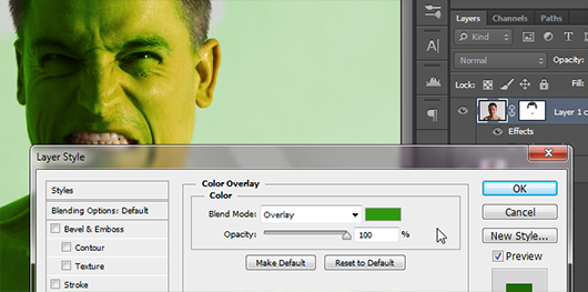 Estilo de camada tipo Sobreposição de Cor. Use um tom de verde