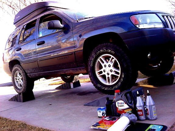 Grand Cherokee on ramps for fluid changes