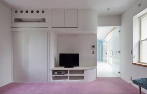 Phòng khách với kệ tivi hiện đại