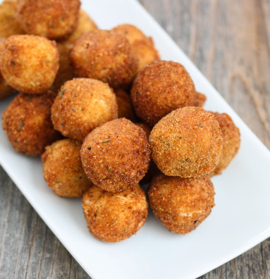 overhead photo of Fried Mashed Potato Balls