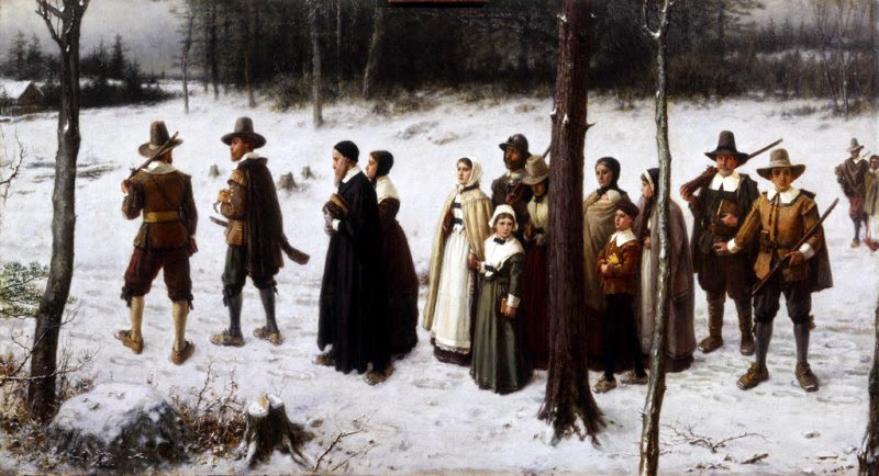 George Henry Boughton - Pilgrims Going to Church (1867)