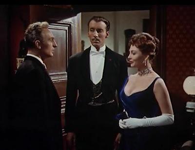 Anton Diffring, Christopher Lee y Hazel Court en una secuencia de 'El hombre que podía engañar a la muerte'