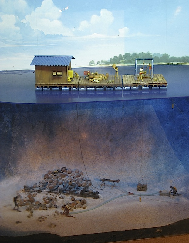 diorama of underwater archeological excavation
