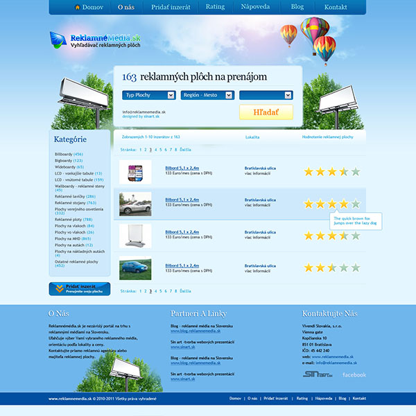 advertisement media website design