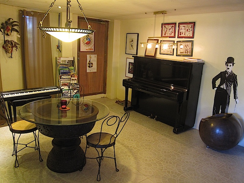 piano nook in the cafe of Casa San Miguel in San Antonio, Zambales