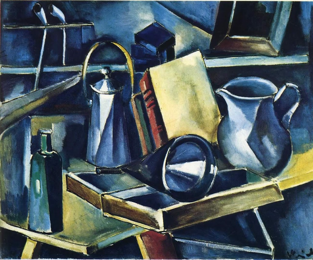 Maurice de Vlaminck - Still Life With Books Bottles And Jugs