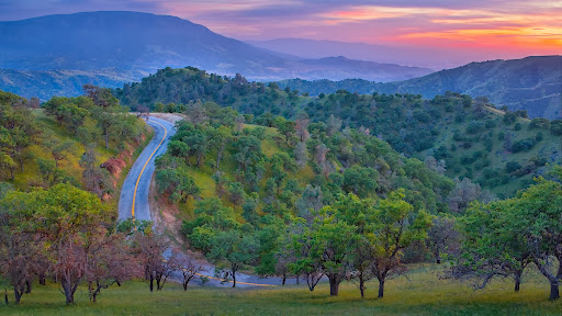 Caliente-Bodfish Road at Sunset, Near Bakersfield, California.jpg