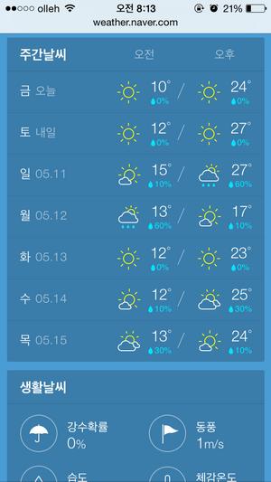 네이버 모바일 날씨의 주간날씨, 생활날씨 확인 사이트