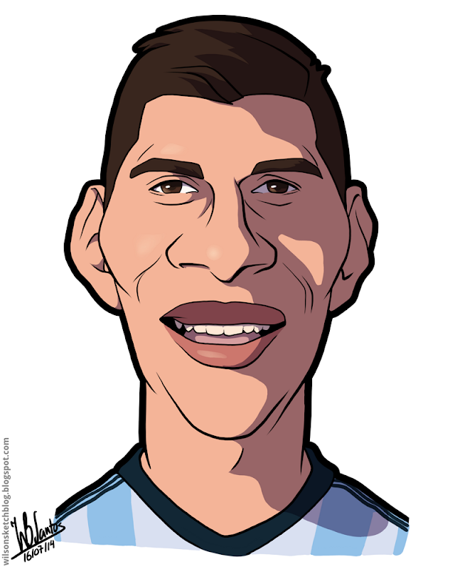 Cartoon caricature of Enzo Pérez.