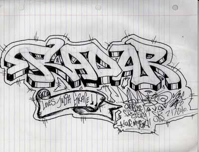 cool graffiti on paper