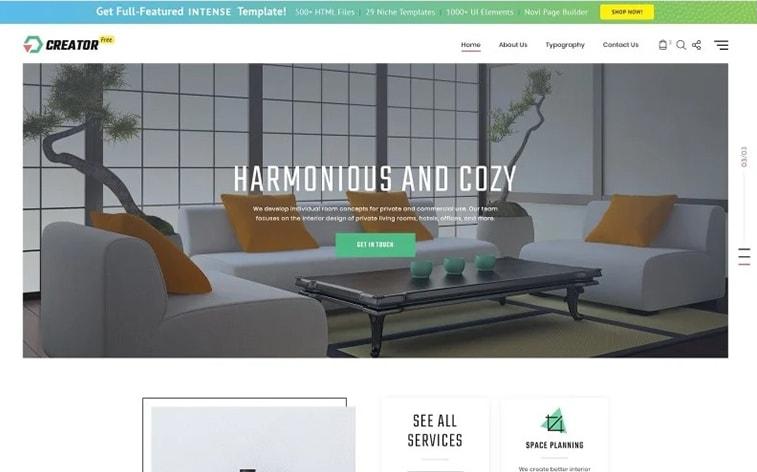 лучший бесплатный шаблон темы ботстрапа веб-сайт студия дизайна интерьера агентство