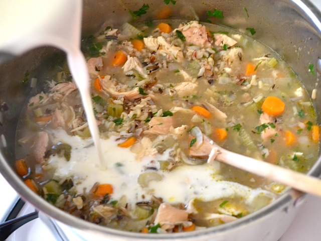 thickened roux added to main pot of soup to thicken