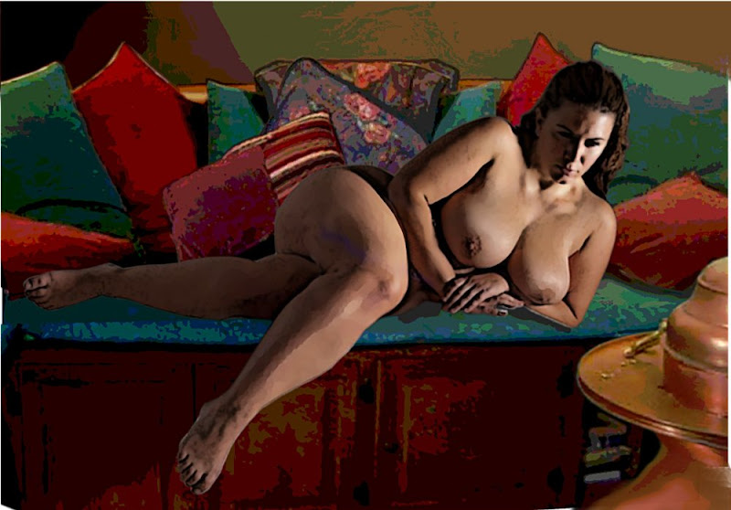 An original digital fine art image of a female nude, reclining.