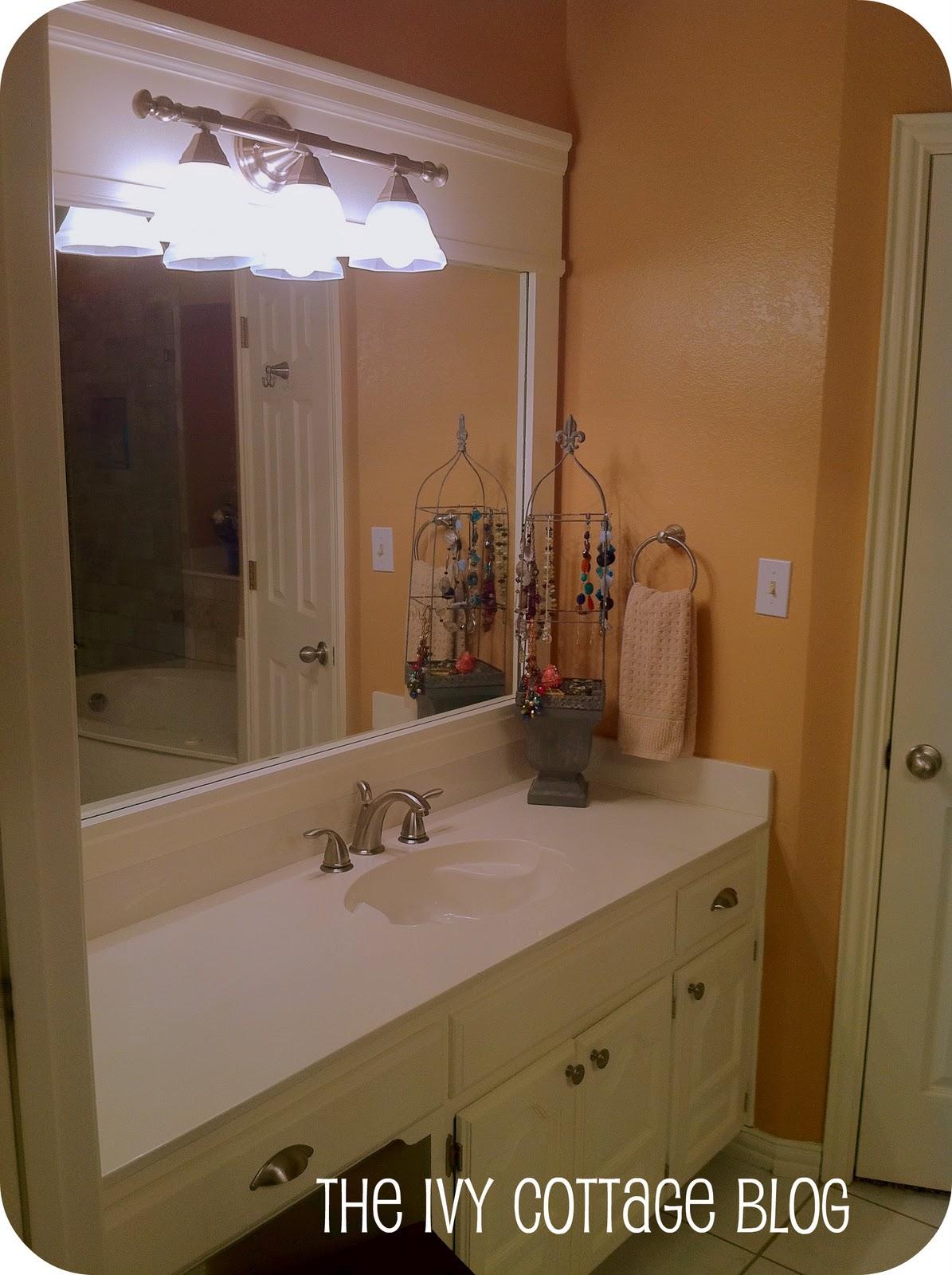 Fresh View from the door entering the bathroom New towel bar and door handles