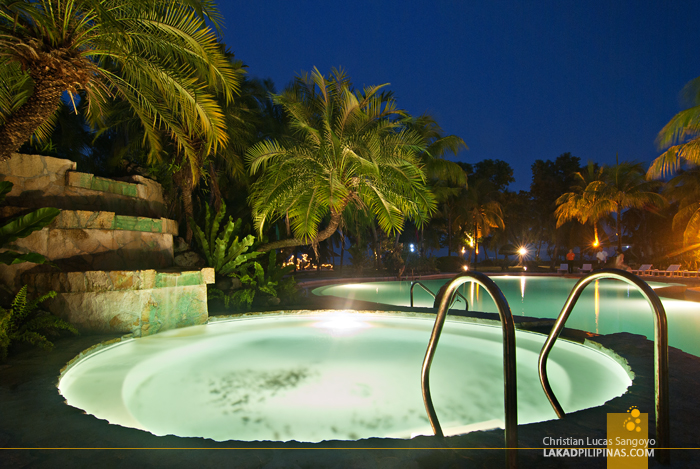 The Pool Area at Night at Dumaguete's Sta. Monica Beach Club