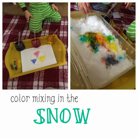 Bring some snow inside and work on some color mixing!