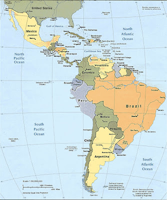 Latin America, North America, Central America, South America