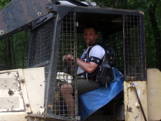 Adam in a bulldozer