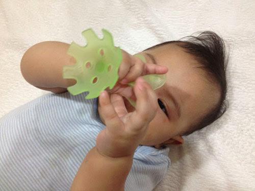 啾寶小物 pigeon 貝親 固齒器 綠色小花 寶寶媽咪