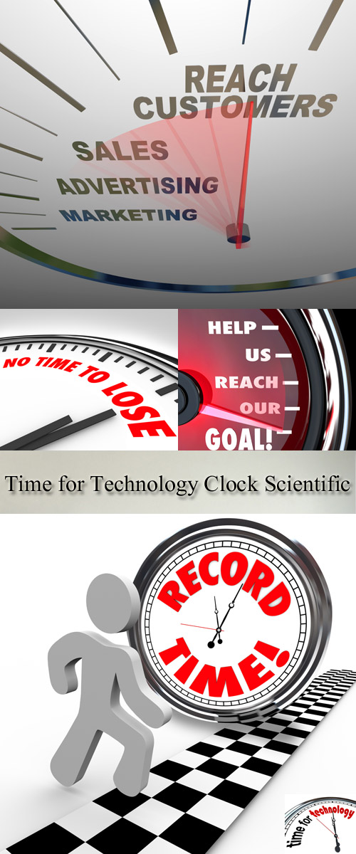Stock Photo: Time for Technology Clock Scientific Solution
