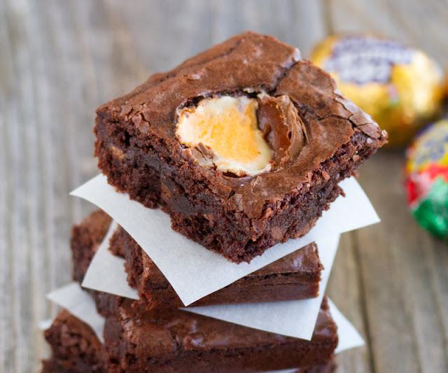 close-up photo of a Cadbury Egg Brownies