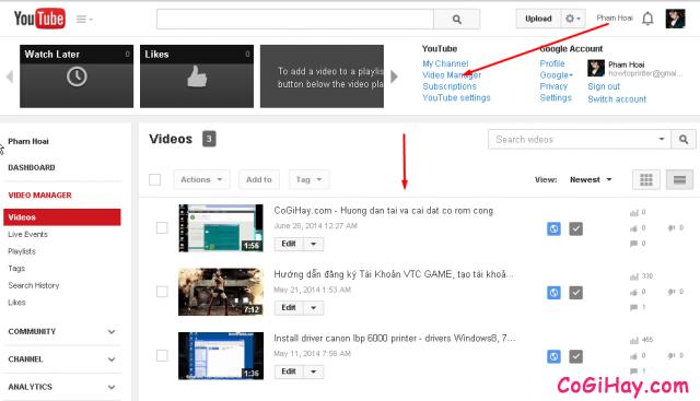 phần quản lý video của youtube