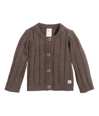 H&M-babytøj-strikcardigan-brun-cardigan-tøj-til-nyfødt