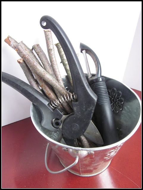bucket of sticks, clipper and potato peeler