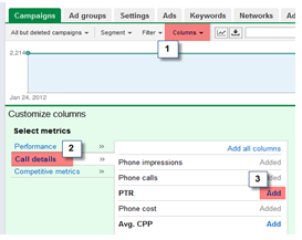 AdWords Call Metrics Data Columns