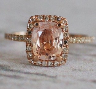 Rose Gold Halo Diamond Ring
