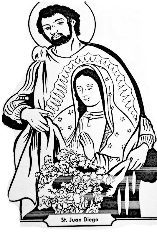 Juan diego and our lady of guadalupe coloring pages for Virgen de guadalupe coloring pages