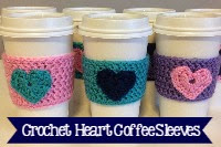 Crocheted Heart Coffee Cozy's=