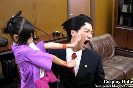 gyakuten saiban / ace attorney cosplay - ayasato harumi / peal fey and naruhodo ryuichi / phoenix wright