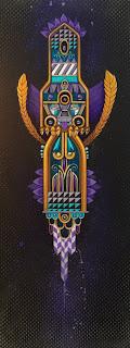 "Hidden Serpent, Acrylic and aerosol on canvas, 12"" x 30"", $2,000"