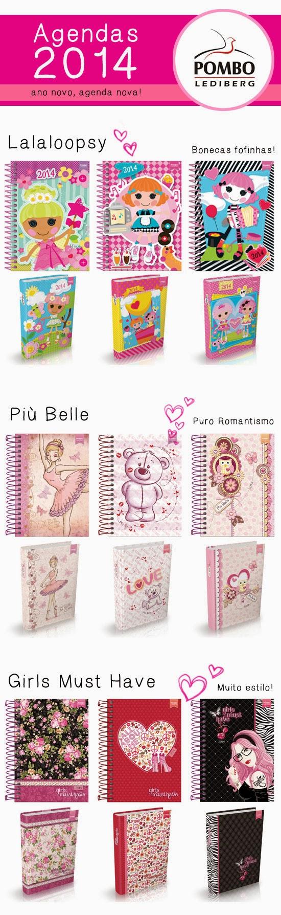 Sorteio 3 agendas Pombo Lediberg e I Love Pink