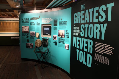 Maritime museum exhibition at The Belfast Barge in Northern Ireland