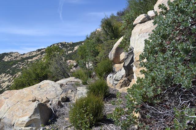 wide trail beside rocks