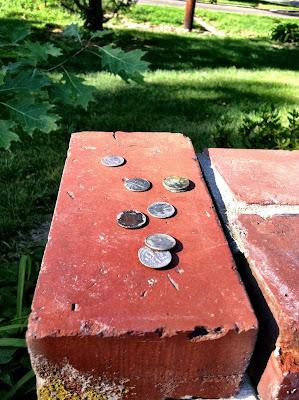 coins money brick tree dimes nickels stock photo