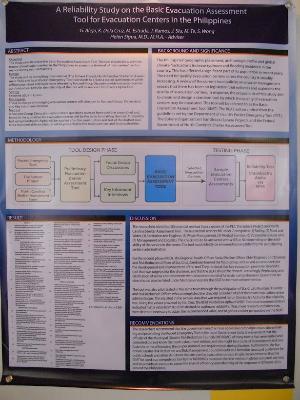 LEAN CC Poster: A reliability study on the basic evacuation assessment tool for evacuation centers in the Philippines