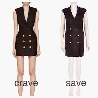 Kim Kardashian Balmain Black Double Breasted Gold Buttons Blazer Dress Look for Less